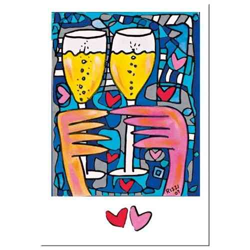 "James Rizzi card with envelope ""A toast to love"""