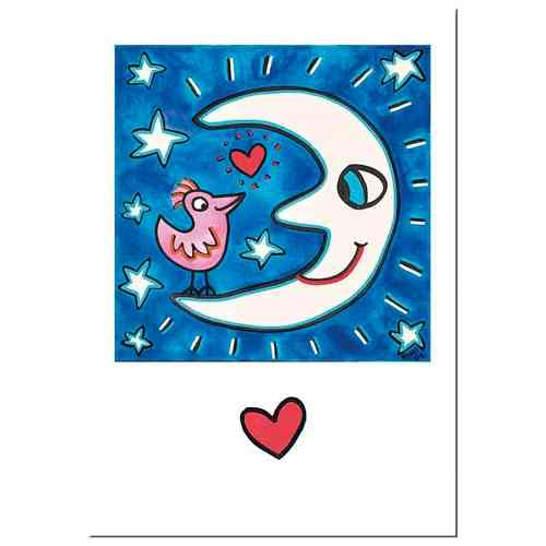 "James Rizzi Double card with envelope ""The moon is a love tool"""