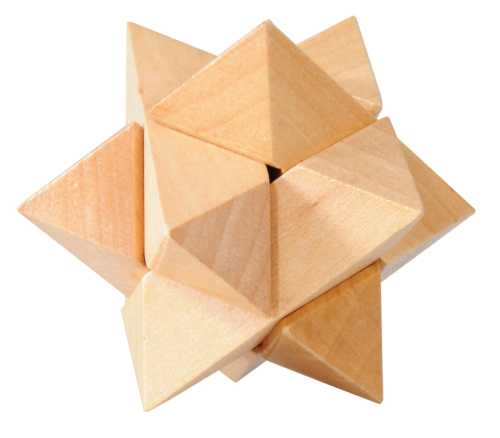 "IQ test, ""Star"", 3D Puzzel, wooden"