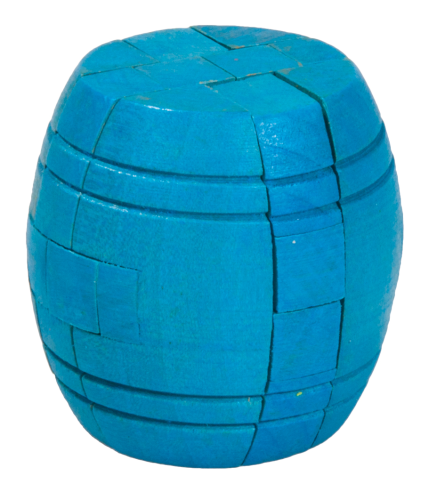 "IQ-Test, ""Barrel"", blue, 3D Puzzle, made of wood"