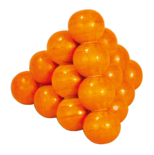 "IQ-Test, "" Ball pyramid"", orange, 3D Puzzle, wooden"