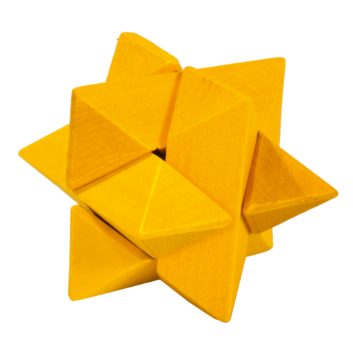 "IQ-Test ""Star"", yellow, 3D puzzle, wooden"