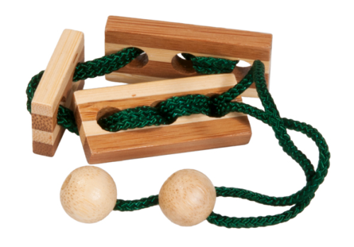 "IQ-Test, bamboo string puzzle ""green"", in a metal box"