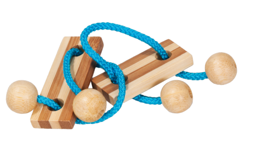 "IQ-Test bamboo string-puzzle in a case ""blue"""