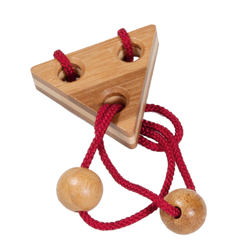 "IQ-Test bamboo string-puzzle in metal case ""red"""