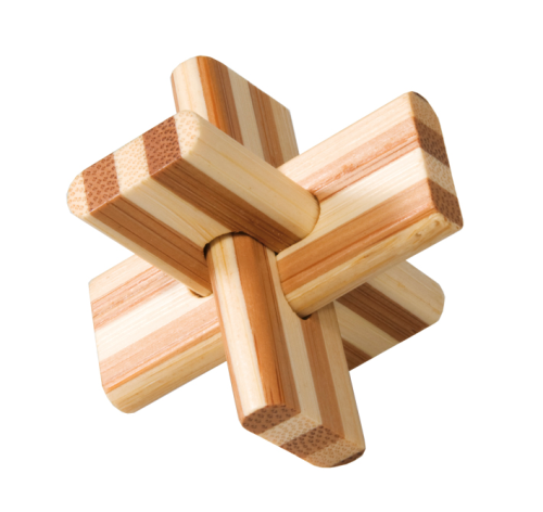 "Bamboo puzzle, ""Cross"", IQ test, in box made of metal"