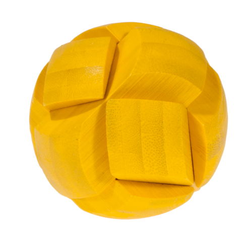 """IQ-Test"" bamboo puzzle ""ball"", colour yellow"