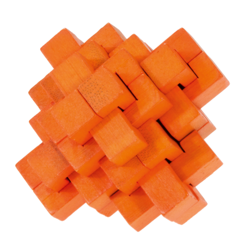"""IQ-Test"" bamboo puzzle ""pine-apple"" colour orange"