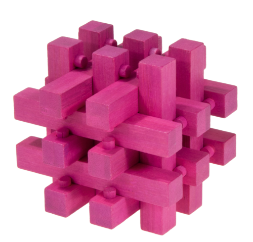 """IQ-Test"" bamboo puzzle ""locked"" colour magenta"