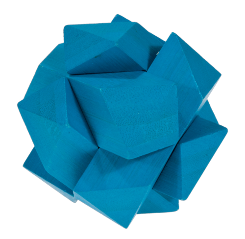 """IQ-Test"" bamboo puzzle ""angular knot"" colour blue"