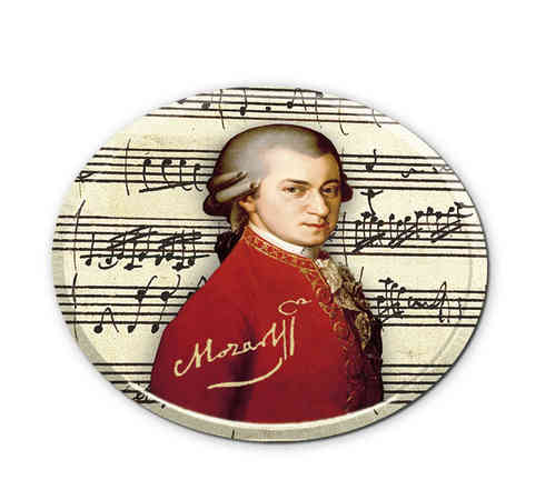 "Coasters ""Mozart"", made of metal with cork bottom, in metal box"