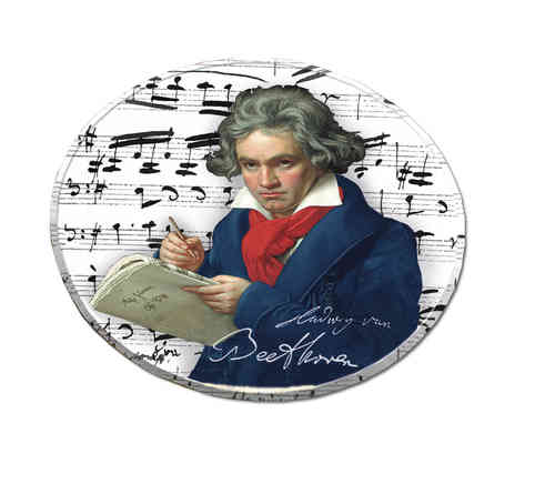 "Coasters made of metal and cork, in box ""Beethoven"""