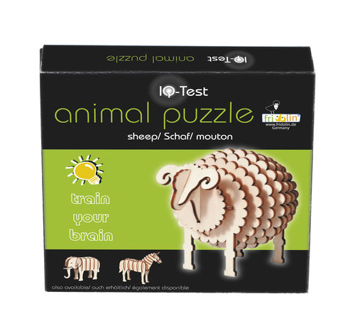 "3D-Animal-Puzzle, ""Sheep"", IQ-Test, wooden"