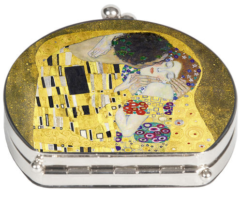 "Pocket mirror ""Klimt - The Kiss"" - textile surface"