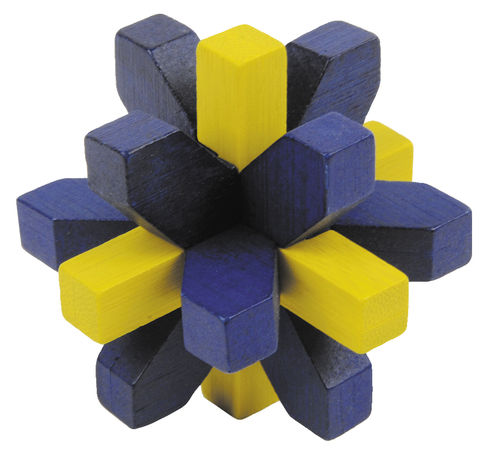"""IQ-Test"" bamboo puzzle ""Crystal"" colour: blue - yellow"