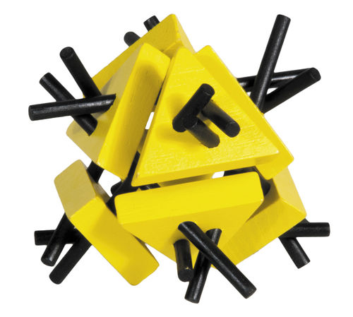 """IQ-Test"" bamboo puzzle ""Triangles with sticks"" colour: yellow – black"