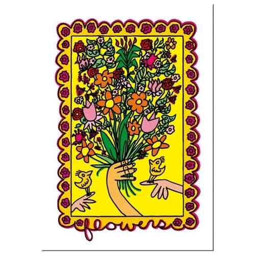 "James Rizzi card with envelope ""Flowers"""