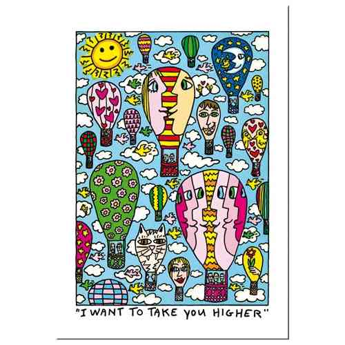 "James Rizzi Doppelkarte ""I want to take you higher"""
