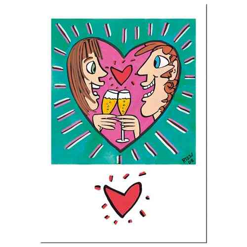 "James Rizzi Double card with envelope ""For you and me"""