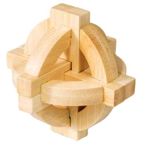 "3D-Puzzle ""Double disk"", bamboo IQ test"