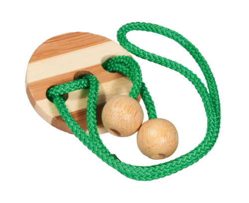 "IQ-Test, Bamboo string puzzle ""light green"", in metal box"