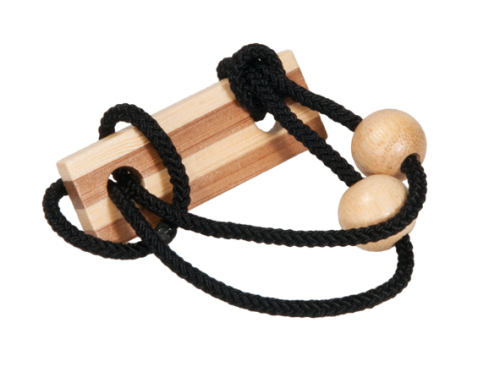 "IQ-Test bamboo string-puzzle in a case ""black"""