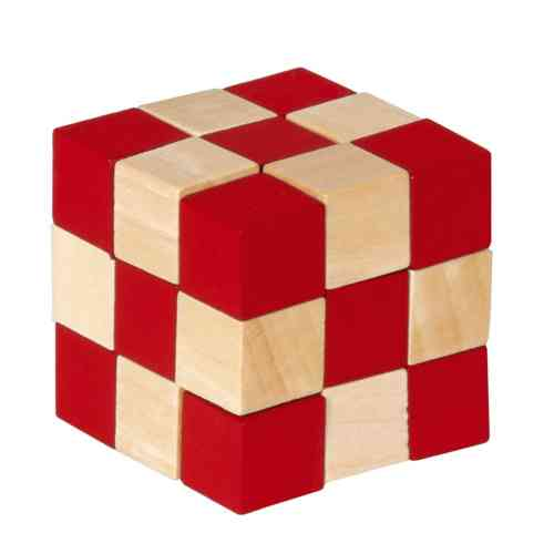 Wooden cubes, natural/red