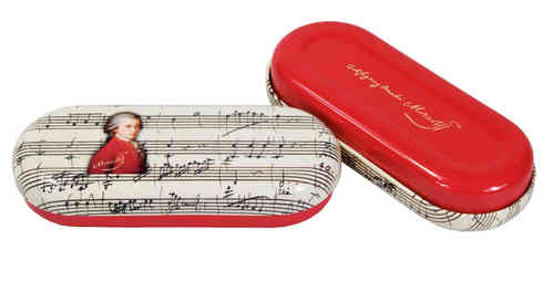 spectacle case, Mozart, metal