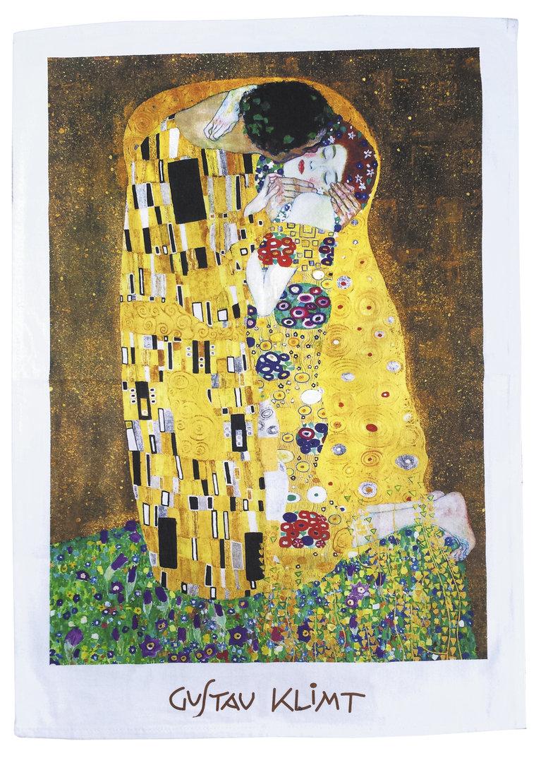"""Geschirrtuch """"Gustav Klimt - Der Kuss"""", aus Baumwolle"""