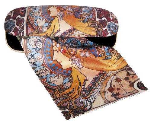 """Brillenetui Set """"Art Nouveau - Zodiak"""", Hardcase, Putztuch"""