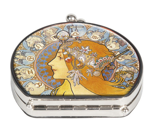 "Pocket mirror ""Art Nouveau - Zodiak"" - textile surface"