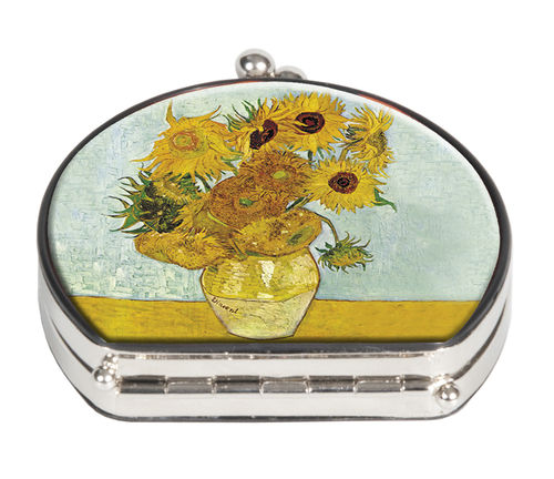 "Pocket mirror ""Van Gogh - Sunflowers"" - textile surface"