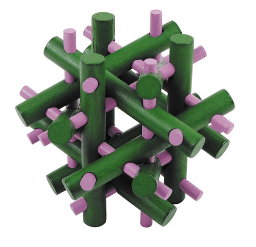 """IQ-Test"" farbiges Bambuspuzzle ""Magic sticks"" grün – pink"