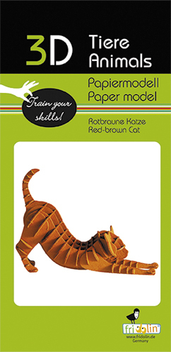 3D Paper model - Cat, red-brown
