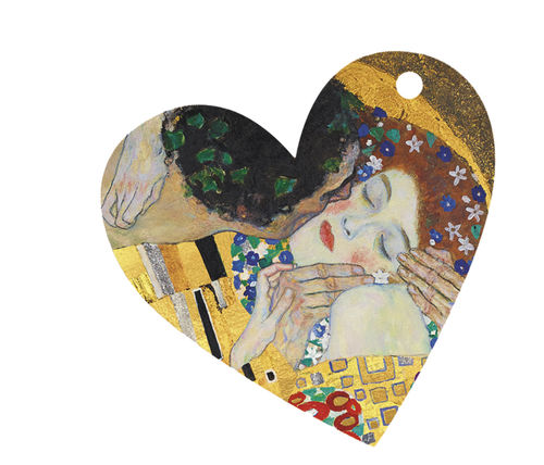 "Gift tags ""Gustav Klimt -The Kiss"", heart shape"